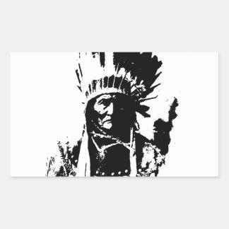 Geronimo negro y blanco pegatina rectangular