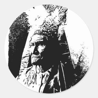 Geronimo negro y blanco pegatina redonda
