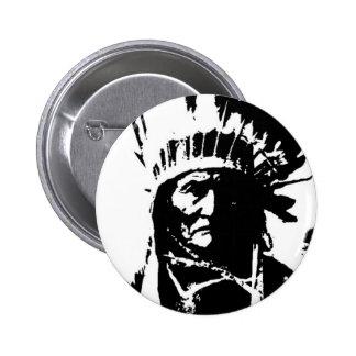Geronimo negro y blanco pin redondo de 2 pulgadas