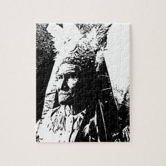 Geronimo negro y blanco rompecabeza con fotos
