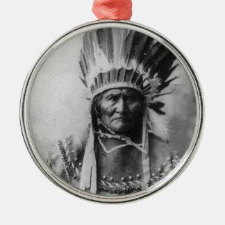 Geronimo Round Metal Christmas Ornament