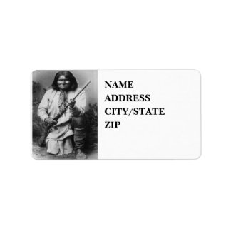 'Geronimo with Gun at the Ready' Address Label
