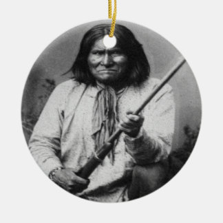 'Geronimo with Gun at the Ready' Double-Sided Ceramic Round Christmas Ornament