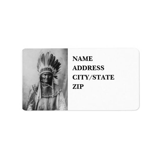 'Geronimo with Headdress' Address Label