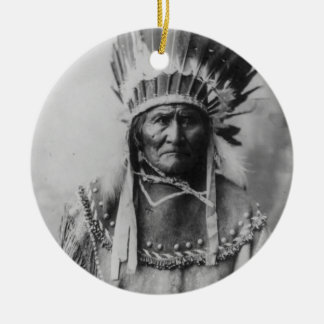 'Geronimo with Headdress' Double-Sided Ceramic Round Christmas Ornament
