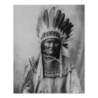 'Geronimo with Headdress' Poster