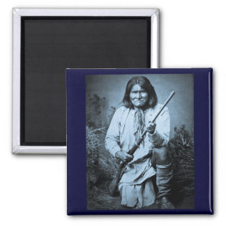 Geronimo with Rifle 1886 2 Inch Square Magnet