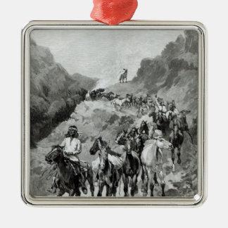Geronimo y su banda adorno cuadrado plateado