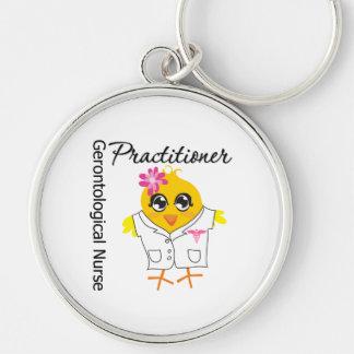 Gerontological Nurse Practitioner Chick v2 Silver-Colored Round Keychain