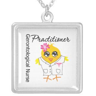 Gerontological Nurse Practitioner Chick v2 Square Pendant Necklace