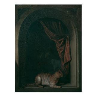 Gerrit Dou- A cat at window of a painters' studios Postcard