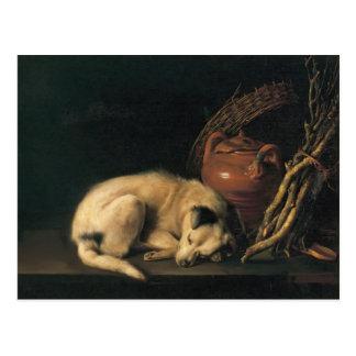 Gerrit Dou- A Sleeping Dog with Terracotta Pot Postcard