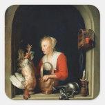 Gerrit Dou el ama de casa holandesa Calcomanía Cuadradas
