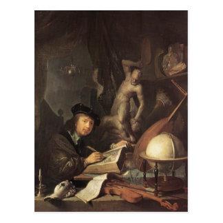 Gerrit Dou el pintor en su taller Tarjetas Postales