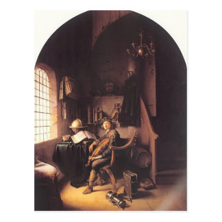 Gerrit Dou- Interior with a Young Violinist Postcard