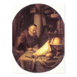 Gerrit Dou- Man Interrupted at His Writing Post Cards