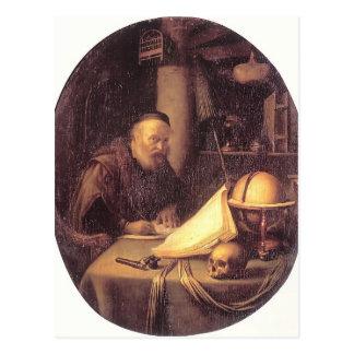 Gerrit Dou- Man Interrupted at His Writing Postcard