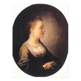 Gerrit Dou- Portrait of a Young Woman Postcard