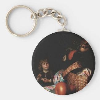 Gerrit Dou- Still Life, Boy Blowing Soap bubbles Key Chain