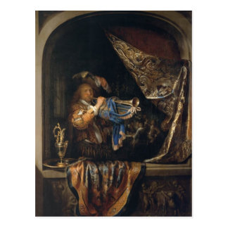 Gerrit Dou- Trumpet Player in front of a Banquet Postcard
