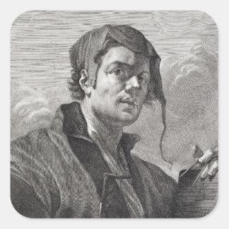 Gerrit van Honthorst (1590-1656), engraved by Cosi Square Sticker