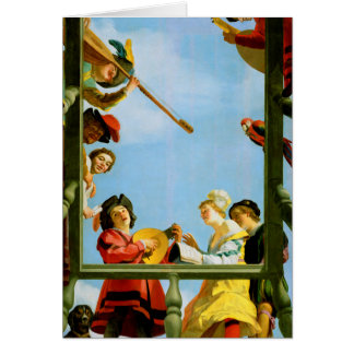Gerrit Van Honthorst Musical Group Balcony Art Card