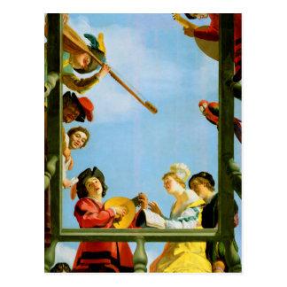 Gerrit Van Honthorst Musical Group Balcony Art Postcard