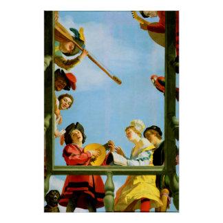 Gerrit Van Honthorst Musical Group Balcony Art Poster