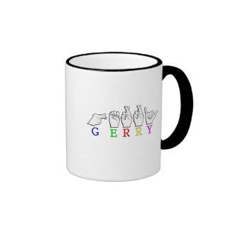 GERRY NAME FINGERSPELLED ASL HAND SIGN COFFEE MUG