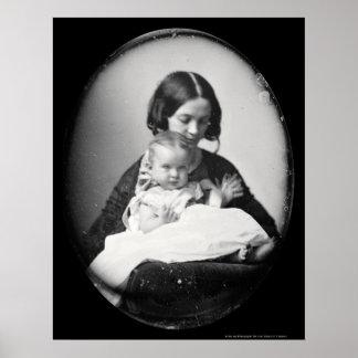 Gertrudis Hubbard y Daguerreotype 1858 del bebé Poster