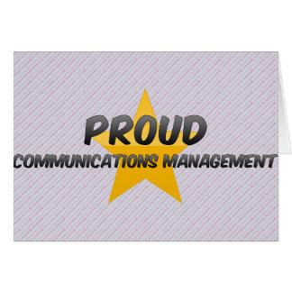 Gestión de comunicaciones orgullosa tarjeta