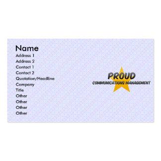 Gestión de comunicaciones orgullosa plantillas de tarjeta de negocio