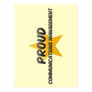 Gestión de comunicaciones orgullosa tarjeta postal