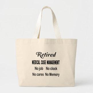 Gestión médica jubilada del caso ningún trabajo bolsa tela grande
