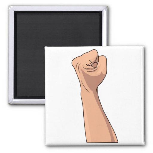 Gesto apretado puño de la muestra de la mano imán cuadrado
