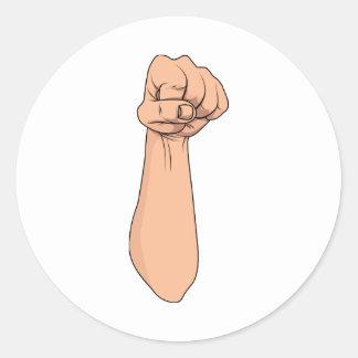 Gesto cerrado 2 de la muestra de la mano del puño etiquetas redondas