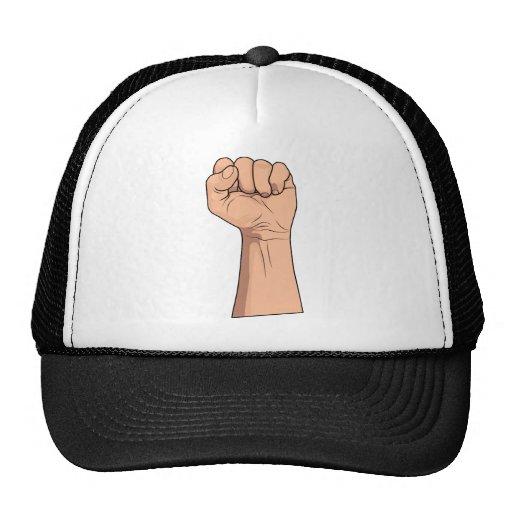 Gesto cerrado de la muestra de la mano del ~ del p gorras