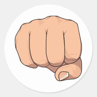 Gesto cerrado de la muestra de la mano del puño pegatinas