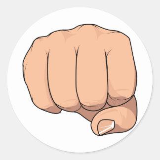 Gesto cerrado de la muestra de la mano del puño pegatina redonda