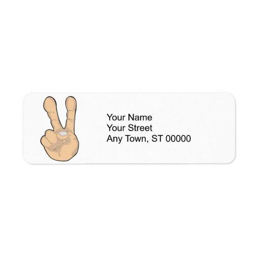 gesto de mano de la paz etiquetas de remite