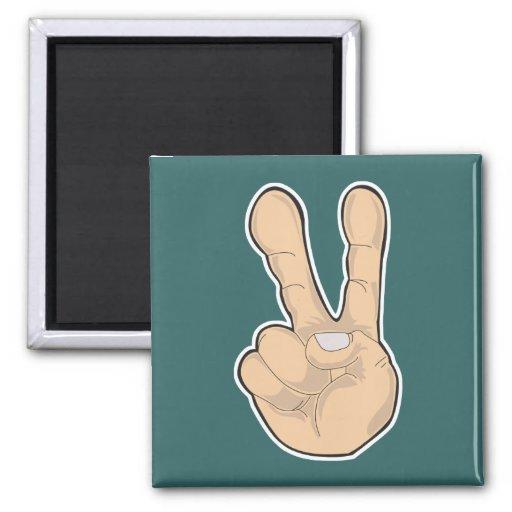 gesto de mano de la paz imán cuadrado