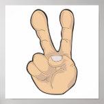 gesto de mano de la paz posters