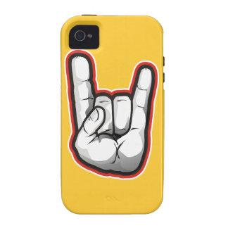 Gesto de mano de los cuernos del diablo Case-Mate iPhone 4 carcasa