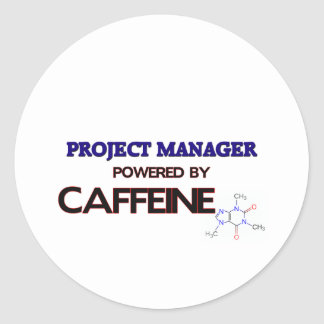 Gestor de proyecto accionado por el cafeína pegatinas redondas