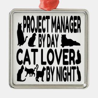 Gestor de proyecto del amante del gato adorno navideño cuadrado de metal