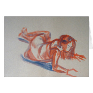 Gestural impressionist painting of woman in dress card
