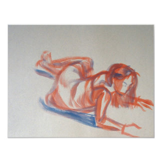 Gestural Painting of Woman in Dress lying down Card