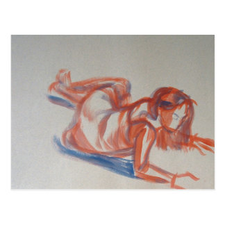 Gestural Painting of Woman in Dress lying down Postcard