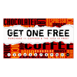 get 1 free COFFEE Double-Sided Standard Business Cards (Pack Of 100)