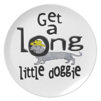 Get a Long Little Doggie Mini Dachshund Dog Melamine Plate